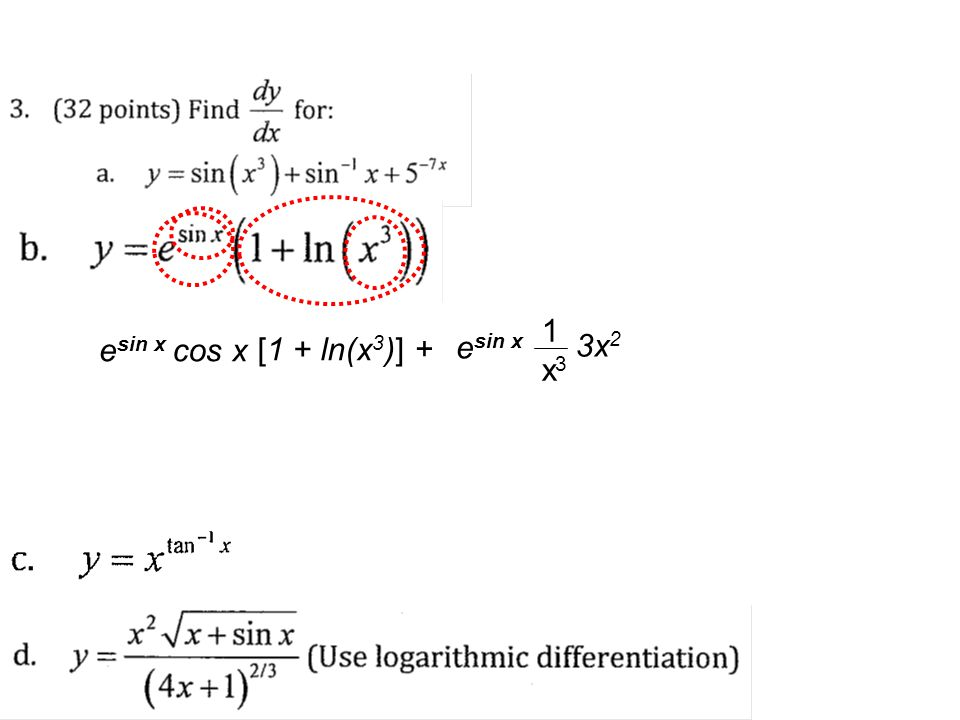 1 x3 esin x cos x [1 + ln(x3)] + esin x 3x2